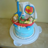 Wonder Pets Cake Top layer all fondant and gum paste with the exception of the the dowel holding up the gum paste sail.