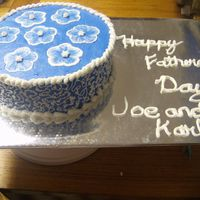 Fathers Day First time doing the embroidery on a cake. I like the way it turned out...although next time I think I'll freeze the cake, it was a...