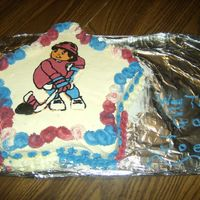 "Tournament Cake My brother plays on a ""Beer gut"" league. They won a tournament so I made this cake. My first time at a FBCT. I did let it freeze..."