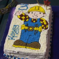 Bob The Builder This took me ages as I free drew it onto the cake. Iwas very pleased with the end result and so was KC.