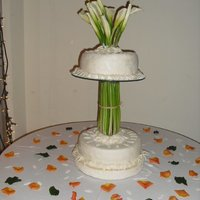 Wedding Cake chocolate cake,grand Marnier fondant,fresh Cala lillies
