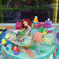 Ariel The Little Mermaid Ariel with her treasures. I made it for my grandaughter´s 3d birthday. Fondant and sugar paste.With some plastic figures .