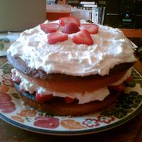 Classic Victoria Sponge With Strawberries!  Hope I picked the right category here! (whoops!) I made this during summer but thought I'd post it because it's one of my...