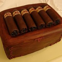 40Th Birthday Cigar Box Dark chocolate & raspberry ganache cake, RKT cigars, covered in chocolate fondant, ends painted brown. Rice paper labels painted with...