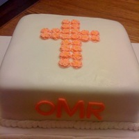 Christening Cake Fodant covered with royal icing flowers, fondant initials