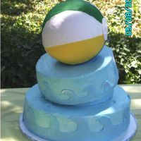 Pool Party Cake. 1st tilted cake. For my son's 3rd grade end of year pool party. Beach ball idea came from sugarshack's cake - thank you...