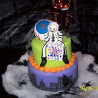 Beetlejuice This is a cake I made for halloween/step-dad birthday/aunt birthday. My step dad was beetlejuice and my aunt was a bingo card. Figure is...