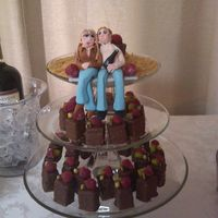 Wedding Shower Bride And Groom Gumpaste people for a wedding shower. Petit fours are lemon cake with rasberry filling covered in chocolate.