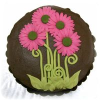 Pink Daisies Chocolate Cake  Six layers of devil's food cake with chocolate bavarian filling. Chocolate frosting. Fondant leaves and stems. Gumpaste gerbera...