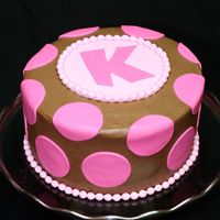Pink Polka Dot Chocolate Cake.  For my daughter's 10th birthday. Three layers of Devil's Food cake, bavarian cream filling, chocolate buttercream frosting....