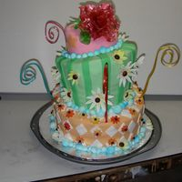 Spring Blossom swirls and rose are made of pulled sugar and flowers are in gumpaste, all edible....