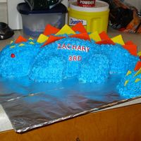 Dinosaur Birthday Cake I made this last year for my son's 3rd birthday. The head is supposed to be standing up but it kept falling down, I tried everything...