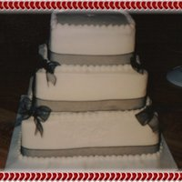 Square Wedding Cake   All buttercream with fabric ribbon...