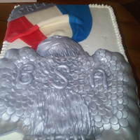 Eagle Scout Cake Bottom layer was chocolate WASC, top was WASC filled with buttercream and iced with Indy's buttercream. Eagle is RKT covered in...