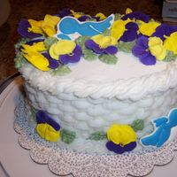 Oval Cake From Course #2 If I were to do this again, I wouldn't have gone 'crazy' with adding so many pansies on top!