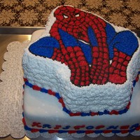 Spiderman For Kristopher's 5Th Bday  Happy Birthday Kristopher! Spiderman was a wilton shaped pan placed on a 14in square. The top portion was vanilla with strawberry filling...