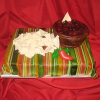 Chips And Salsa Made this for a salsa contest at my church. Since I'm known as the cake girl I thought this would be more fun. Thank you to everyone...