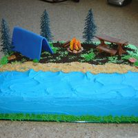Camping Cake Chocolate cake with BC frosting, Tent, Logs, and table made with MF