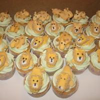 Lion And Giraffe Cupcakes These were for a baby shower. The theme was lions and giraffes. The icing was made of buttercream but the animals were made of MMF. My...