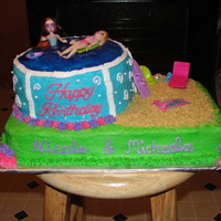2 Sisters Birthday 1/4 sheet cake (chocolate) 6 inch rounds stacked to form pool. all covered in buttercream. Used Polly Pocket toys. Crushed graham crackers...