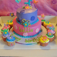 Pretty 3 Year Old Birthday Cake Fondant accents