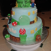 3 Year Old Mario Birthday Cake Buttercream icing, Fondant accents...I tried RKT for the top, but that didn't work, so I had to find other ways. 9in round, and 6 inch...