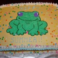 """hoppy Summer!"" BC frosting, piping gel transfer for frog"