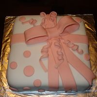 "Peach & White ""gift Box"" This is my very first fondant cake! :)"