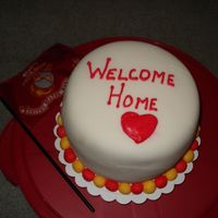 Welcome Home Cake   I made this for my brother in the Marines who is back from Okinawa, Japan. The cake is all fondant.