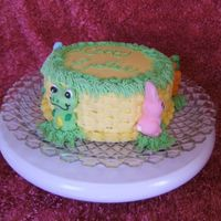 Frogs And Bunnies And Chicks Easter Cake  First try at basketweave. This cake is for a girl I work with who's mother is suffering from alzheimers and this is her cake plate she...
