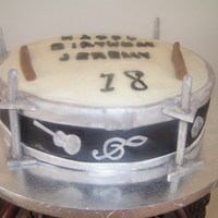 Snare Drum For 18Th Birthday Party   Flavorul pound cake with buttercream and fondant accents.