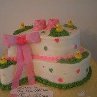Little Girl's Baby Shower Cake   Top tier chocolate on chocolate and bottom tier yellow cake with buttercream