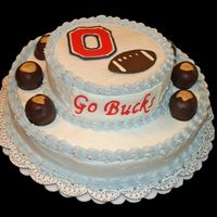 Ohio State Buckeyes Cake   My first stacked cake. Was very fun to do. Dipped my own buckeyes and made the decorations with Color Flow.