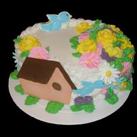 Birdhouse Cake   This was my final cake for my Wilton course II class. Will be offering it for Mother's Day and other occasions.
