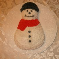 "Snowman Cake   Character cake.. My first star ""fill in"" cake"
