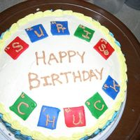 Birthday Cake For A Chemistry Teacher My friend Chuck is a Chemistry teacher, so I created this cake by cutting squares of fondant and piping letters to look like the periodic...