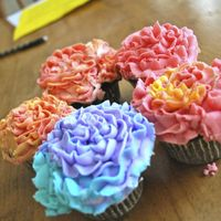 Flower Cupcakes! I discovered Wilton tip 2D, and I love it!