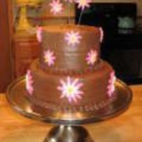 Pnkbrwn.jpg Chocolate cake, filled and iced with chocolate buttercream. Yummy! Fondant flowers, and shell border.