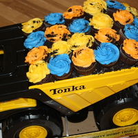 Dump Truck Cupcakes Did these for a little boy turning two. Mom wanted plain cupcakes, but I found a big tonka truck to match the invitation to put them in,...
