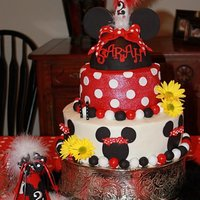 "1281975191.jpg The cake is a 12"" topped with an 8"", iced in buttercream with fondant decorations. The Minnie Hat is RKT made with a half ball..."