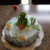 Frog In The Pond Coconut cake with Chocolate SMBC. Covered in 7 minute frosting!