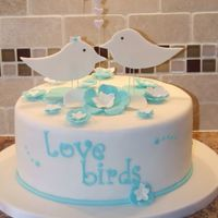 "Love Birds White chocolate cake with chocolate SMBC. Bride to be said I could do anything. Her only request was ""tiffany blue"""