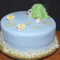 "Turtle Cake For One-Year Old Cake for a grandchild of a friend. He loves turtles. The blue is MMF and the lilies and lily pads are gum paste. The cake is 12"" x 4&..."
