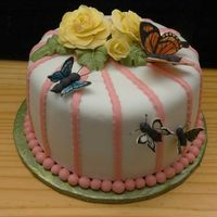 Lillian's Birthday Cake Fondant with gum paste roses and butterflies.