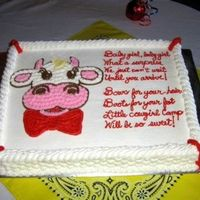 Cow Cake Baby shower cake to match western theme