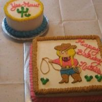 "Cowgirl & Cactus 6"" round with cactus for 1st birthday cake smashing, cowgirl cake to match invitations"