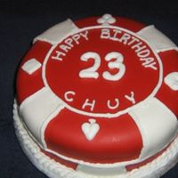 Red Poker Chip Red and white fondant poker chip