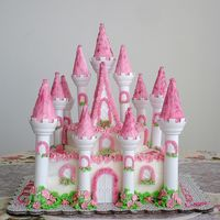 Enchanted Castle Cake I decorated this Castle Cake for a friend with all buttercream icing. Friend did the turret peaks. I tried dusting the turrets with pink...
