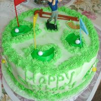 Golf Cake This is covered with Fondant. Flavor of the cake was butterscotch and chocolate.