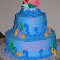"Mermaid Tiered Cake Third birthday cake - 10"" round and 6"" round. Plastic topper. All buttercream. http://slicethecake.blogspot.com for my other..."